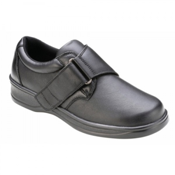 Ortho Feet Womens Strap Black Leather Orthopedic Shoes