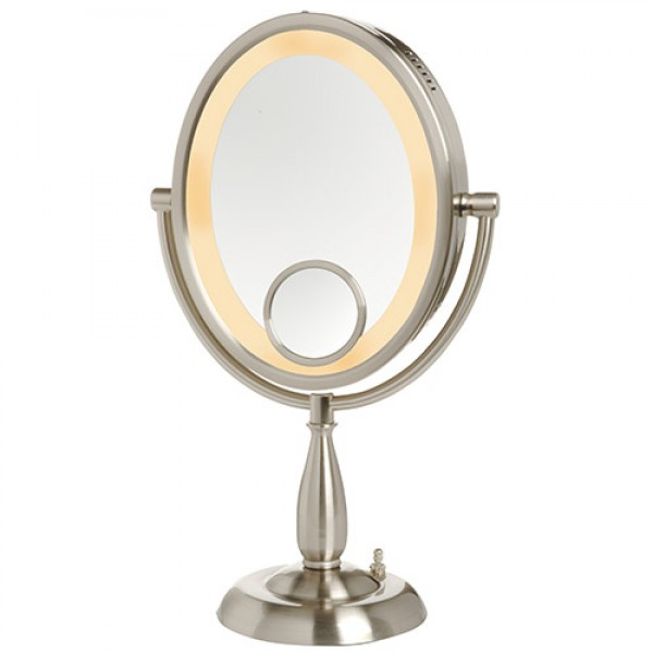 Jerdon 8-Inch Two-Sided Oval Halo Lighted Vanity Mirror