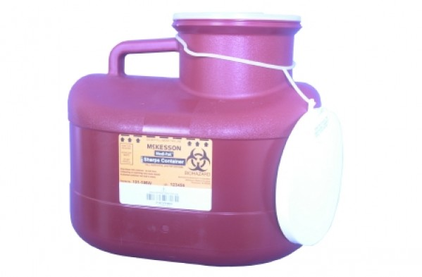 McKesson 12 Quart Red Medi-Pak Sharps Disposal Container with Vertical Entry Lid 101-186W