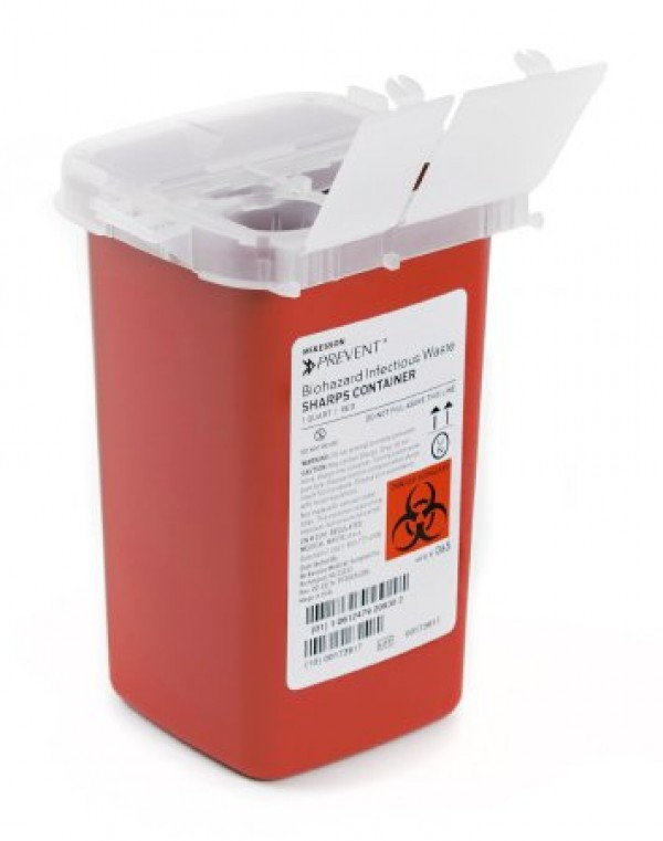 McKesson 1 Quart Red Medi-Pak Sharps Disposal Container with Vertical Entry Lid 101-8702