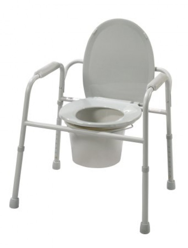 Drive Medical Steel Frame Commode Chair with Plastic Armrest