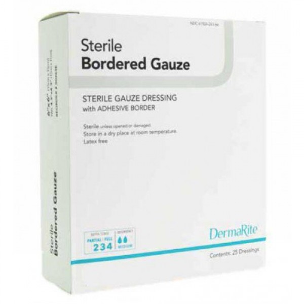 Dermarite Industries Sterile Bordered Gauze Dressing with Adhesive Border