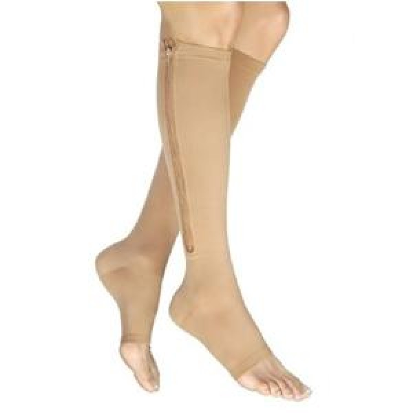 Vairox Knee High Compression Socks with Zipper OPEN TOE 30-40 mmHg by Jobst