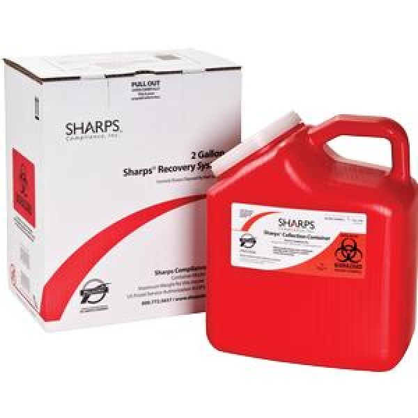 Sharps Compliance Inc 2 Gallon Red Sharps Container Mail Back Sharps Disposal System 12000-012