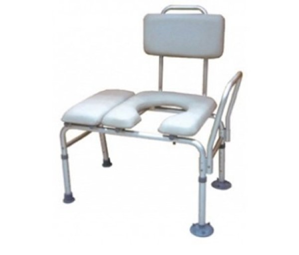 Drive Medical Bath Shower Transfer Bench with Padded Seat and Commode Opening
