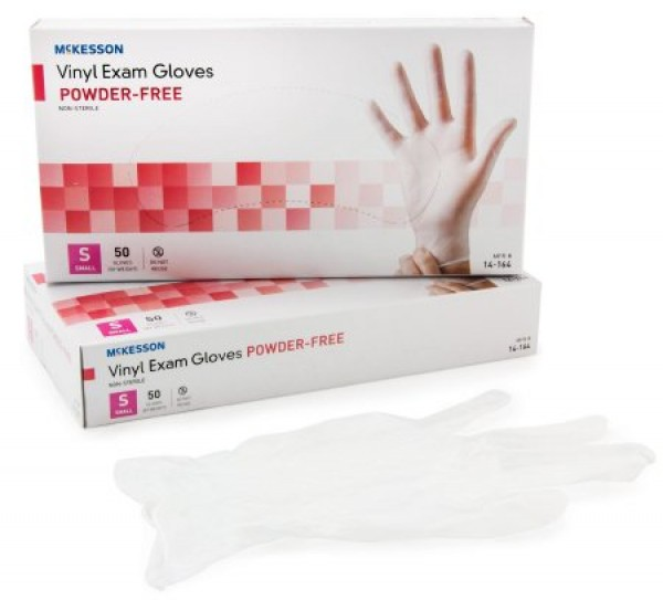 McKesson Confiderm Vinyl Exam Gloves Powder Free - NonSterile