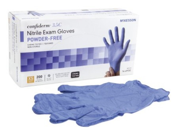 Cypress Tactile Touch Nitrile Exam Gloves Blue Textured Fingertips Chemo Rated Powder Free -NonSterile