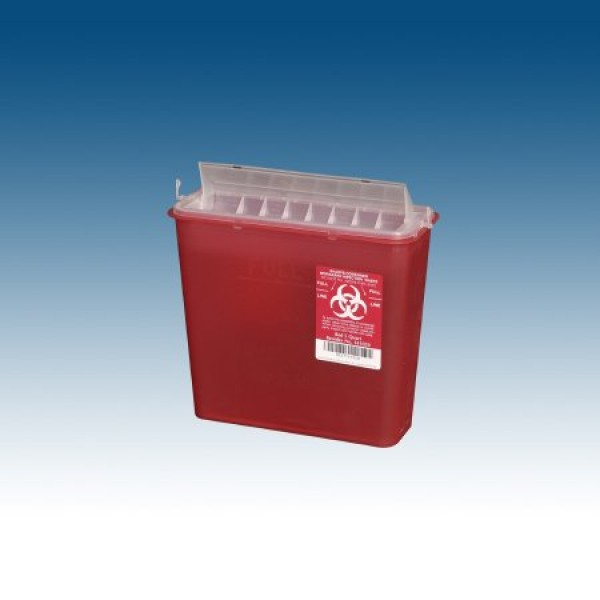 Plasti-Products 5 Quart Red Sharps Container with Rotating Chamber 141020