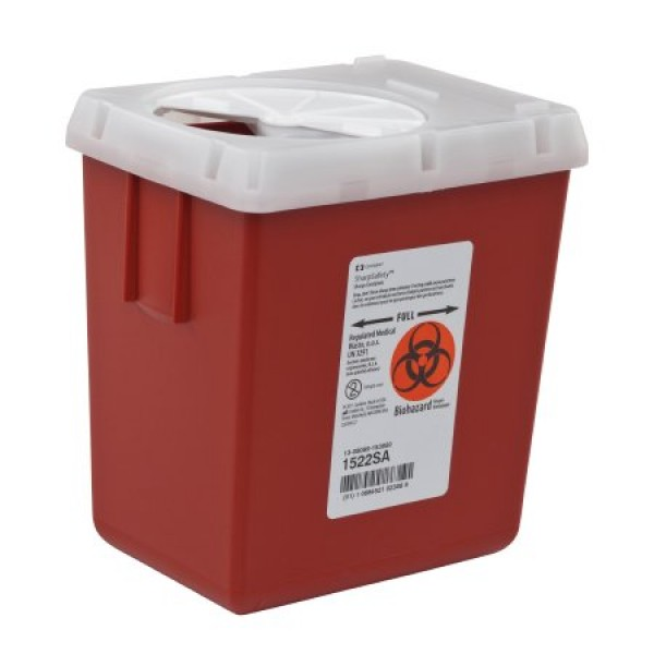 Covidien 2.2 Quart Red SharpSafety Sharps Container for Phlebotomy 1522SA
