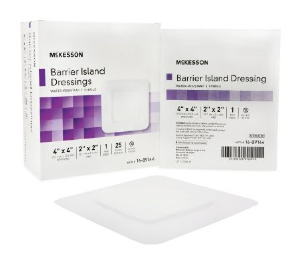 McKesson Composite Barrier Island Dressing Water Resistant 4 x 4 Inch - Sterile