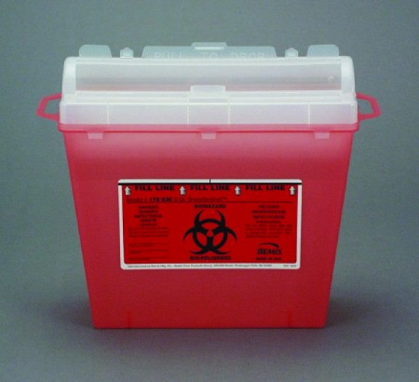 Bemis Health Care 5 Quart Transparent Red Sharps Container with Rotating Cylinder Opening 175-030