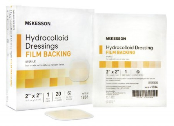 McKesson Hydrocolloid Dressing with Film Backing 2 x 2 Inch - Sterile