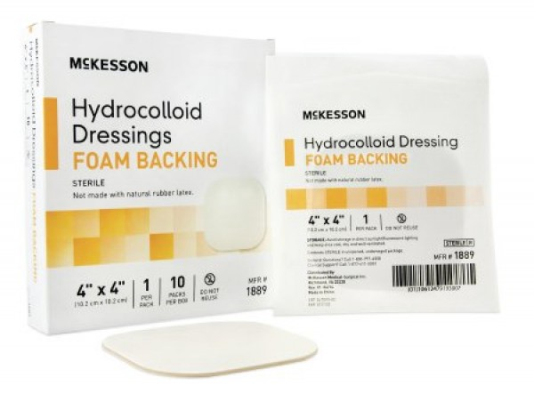 McKesson Hydrocolloid Dressing with Foam Backing 4 x 4 Inch - Sterile