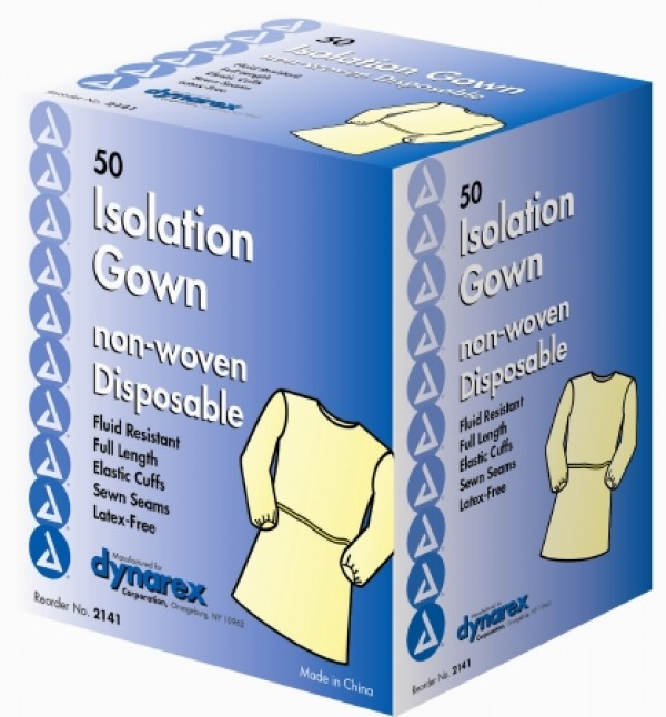 Disposable Elastic Cuff Isolation Gown by Dynarex