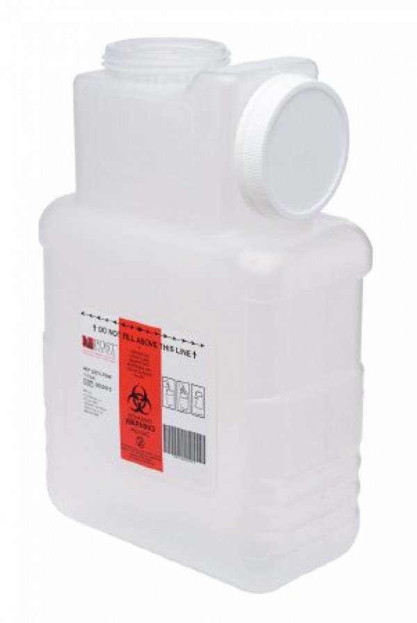 Post Medical 1.5 Gallon Clear Sharps Container with Locking Screw Cap 2201-LPBW