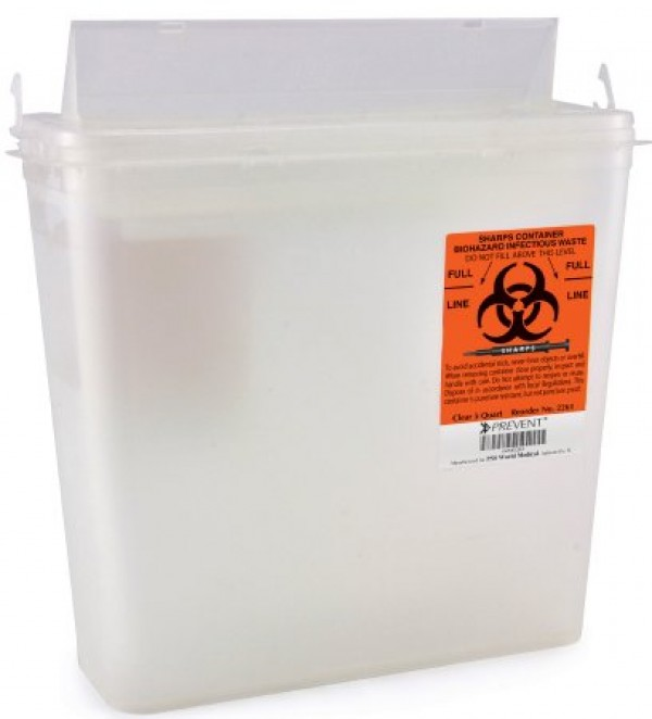 McKesson 5 Quart Clear Prevent Sharps Disposal Container with Horizontal Entry Lid 2261