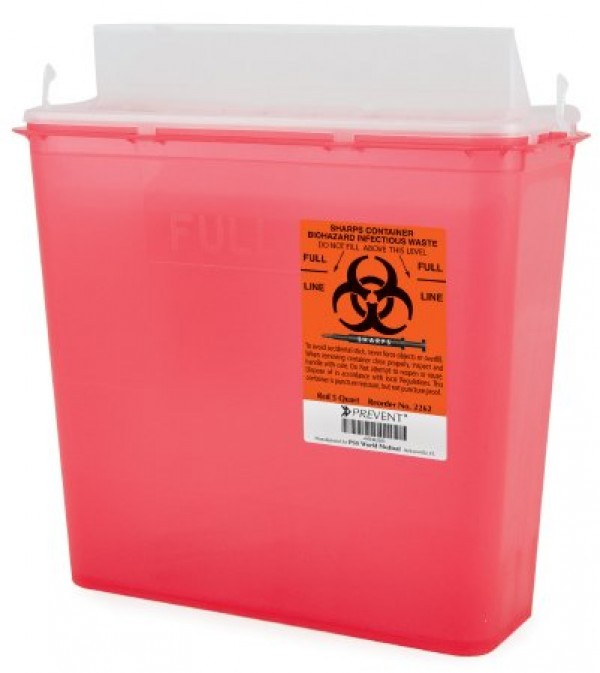 McKesson 5 Quart Red Prevent Sharps Disposal Container with Horizontal Entry Lid 2262