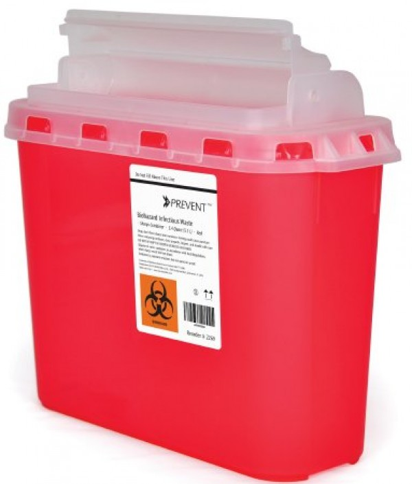 McKesson 5.4 Quart Red Sharps Container with Horizontal Entry Lid 269