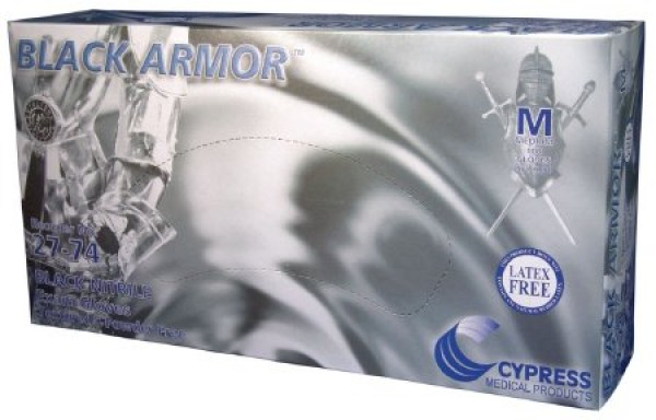 Cypress BLACK ARMOR Nitrile Exam Gloves Fully Textured Black Powder Free - NonSterile