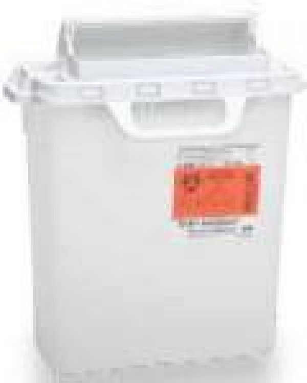 BD Becton Dickinson 3 Gallon Pearl RecyKleen Sharps Collector with Counterbalanced Door 305053