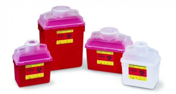 BD Becton Dickinson 6 Gallon Red BD Stackable Sharps Container Large Funnel with Clear Top 305465