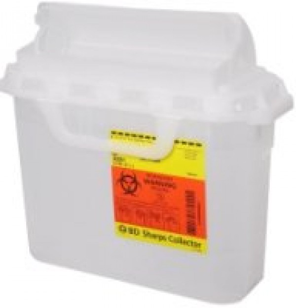 BD Becton Dickinson 5.4 Quart Clear BD Sharps Container with Counterbalanced Door 305551