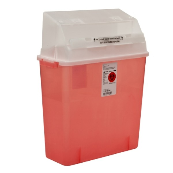 Covidien 3 Gallon Transparent Red GatorGuard Sharps Container with Counterbalanced Door 31314886