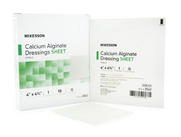 McKesson Calcium Alginate Dressing 4 x 4-3/4 Inch - Sterile