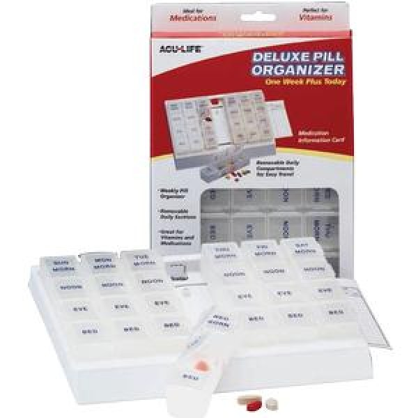 Health Enterprises 1 Week Deluxe Pill Box Medication Organizer