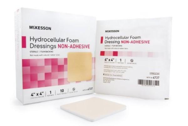 McKesson Meckesson 4737 Non-Adhesive Hydrocelluar Foam Dressing 4 x 4 Inch - Sterile
