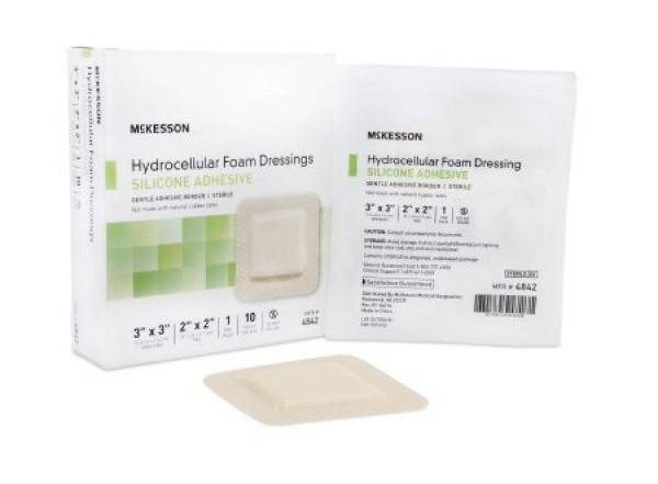 McKesson Adhesive Foam Dressing Silicone Adhesive 3 x 3 Inch - Sterile