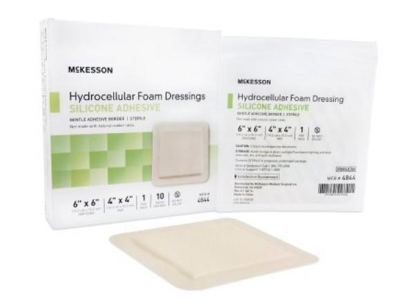 McKesson Adhesive Foam Dressing 4 x 4-3/4 Inch - Sterile