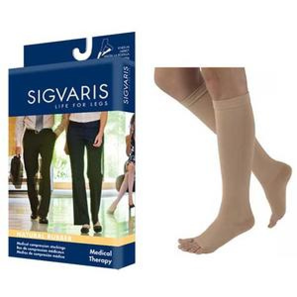 500 Natural Rubber Knee High Compression Socks - 503C OPEN TOE 30-40 mmHg by Sigvaris