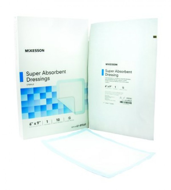 McKesson Superabsorber Super Absorbent Polymer Dressing 6 x 9 Inch - Sterile