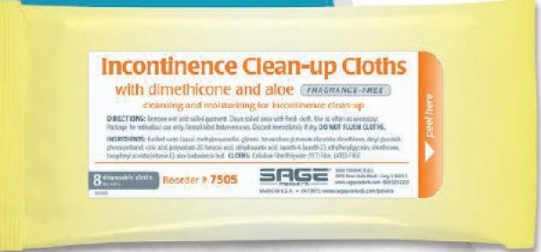 Incontinence Clean-Up Cloths with Dimethicone and Aloe - Fragrance Free by Sage
