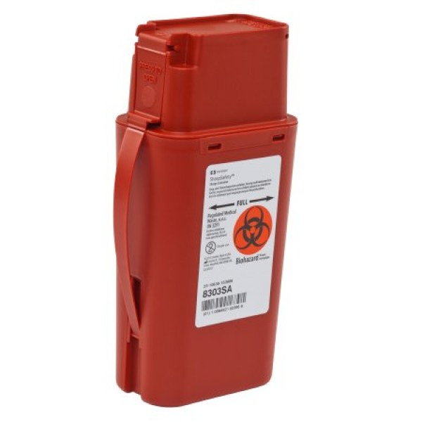 Covidien 1 Quart Red SharpSafety Sharps Container Transportable 8303SA