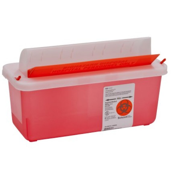 Covidien 5 Quart Transparent Sharps Container Red SharpSafety Mailbox Style Lid 85131