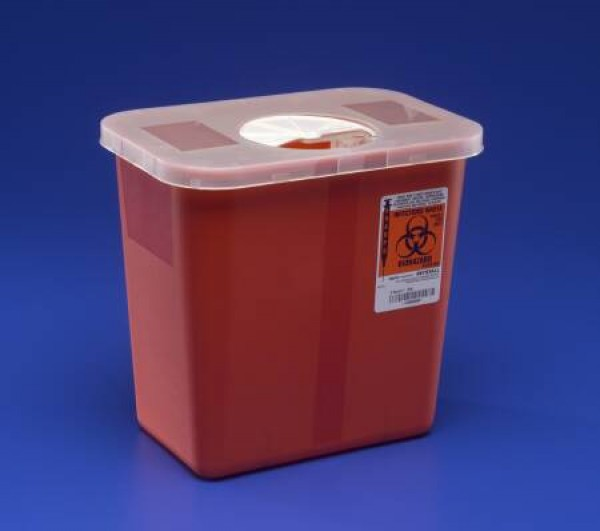 Covidien 3 Gallon Red Sharps Container with Hinged Rotor Lid 8527R