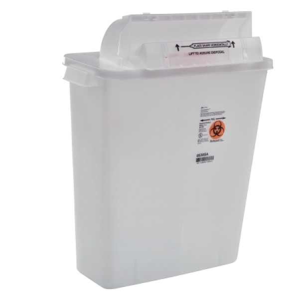 Covidien 2 Gallon Clear Sharps Container with Counterbalance Lid 8533SA