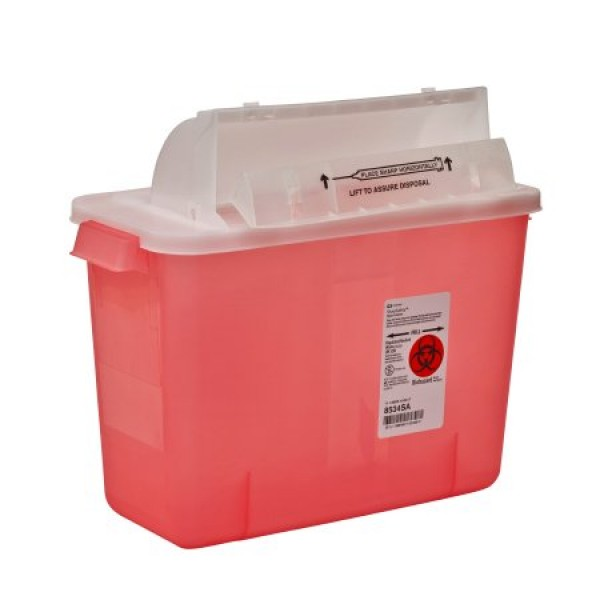 Covidien 2 Gallon Transparent Red SharpSafety Sharps Container with Counterbalance Lid 8534SA