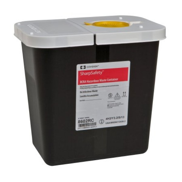 Covidien 2 Gallon Black SharpSafety Waste Container with Snap Cap 8602RC