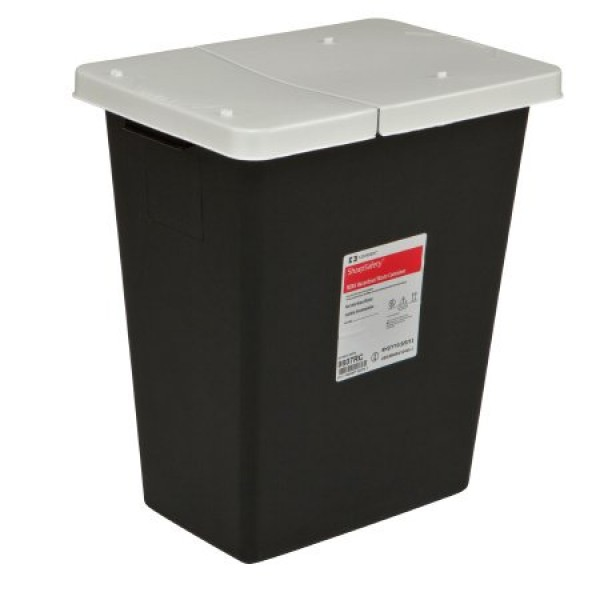Covidien 8 Gallon Black SharpSafety Waste Container with Hinged Lid 8607RC