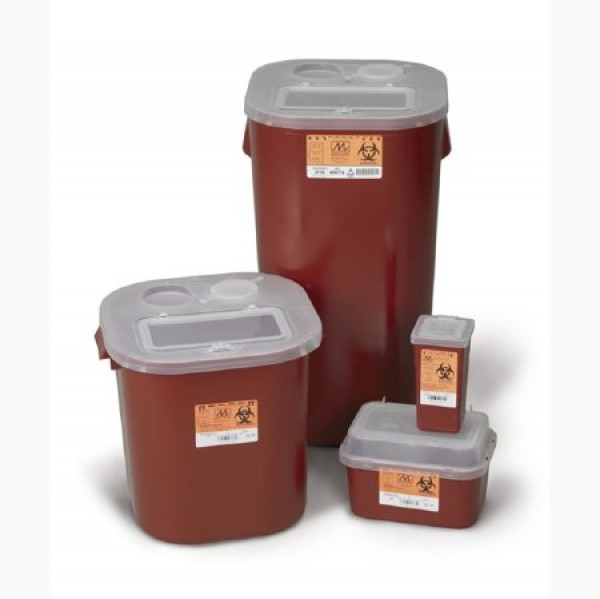 Medical Action Industries 2 Gallon Red Stackable Sharps Container with Biohazard Symbol 8704