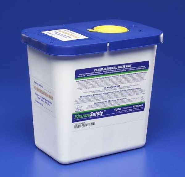 Covidien 2 Gallon White SharpSafety Medical Waste Container with Gasketed Hinged Lid 8820