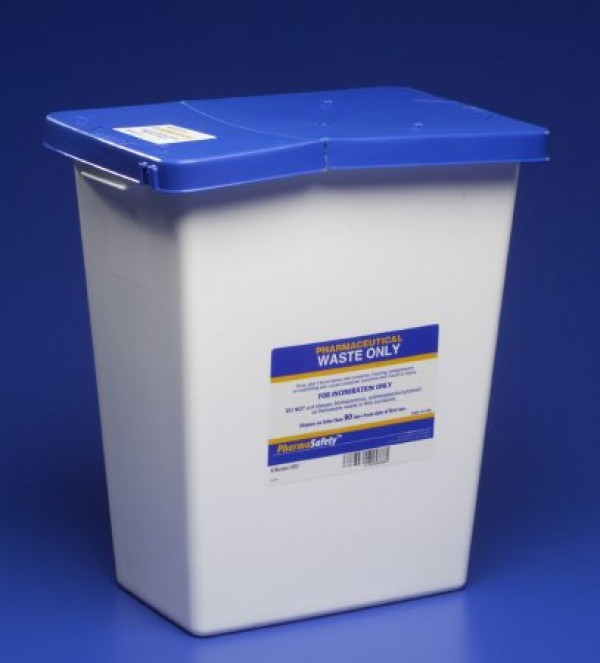Covidien 12 Gallon White SharpSafety Medical Waste Container with Gasketed Hinged Lid 8860
