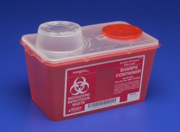 Covidien 4 Quart Red Sharps-a-Gator Sharps Container with Chimney Top 8881676236