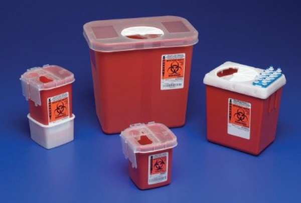 Covidien 1 Quart Red Sharpsafety Sharps Container for Phlebotomy 8900SA