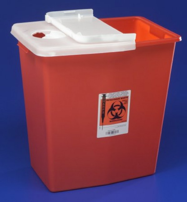 Covidien 12 Gallon Red Sharps Container with Hinged Lid 8933