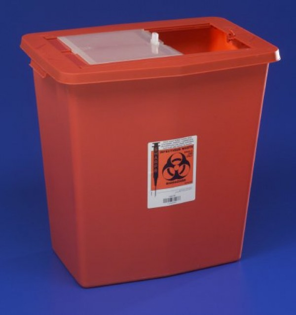 Covidien 18 Gallon Red SharpSafety Sharps Container with Slide Lid 8938