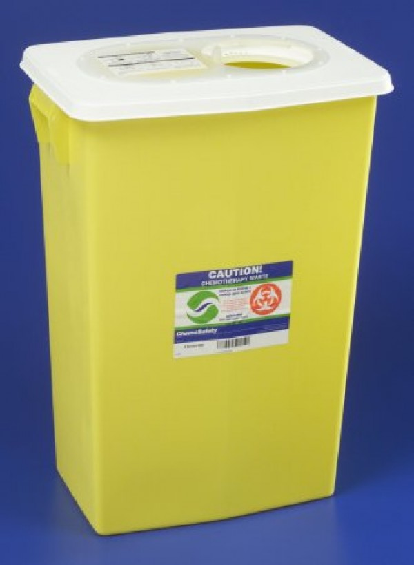 Covidien 18 Gallon Yellow SharpSafety Chemotherapy Container with Slide Lid 8939